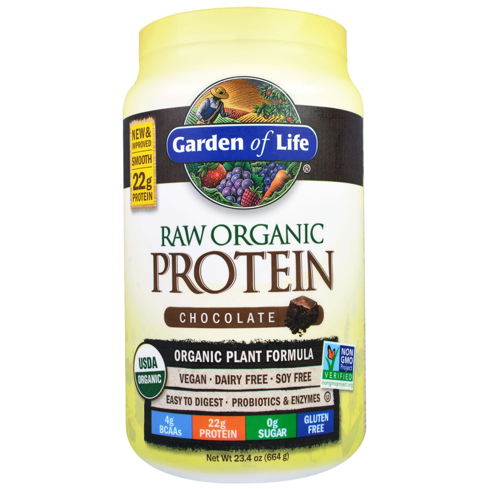 GARDEN OF LIFE RAW PROTEIN 22 OZ. CHOC CACAO