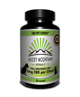 CBD Pet Chews Rocky Mountain Herbals 2 mg per chew 30 count